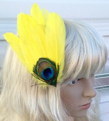 yellow fascinator millinery peacock feather hair clip wedding piece ascot