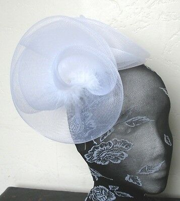 white feather fascinator millinery burlesque headband wedding hat hair piece