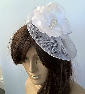 white satin flower fascinator millinery burlesque wedding hat bridal race