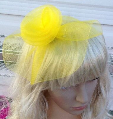 yellow fascinator millinery feather brooch clip wedding hat bridal ascot race
