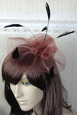 tan brown feather hair headband fascinator millinery wedding hat ascot race x