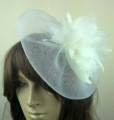 white feather fascinator millinery burlesque wedding hat bridal race ascot 1