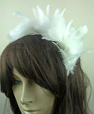 white feather headband fascinator hair band wedding bridal race party ascot