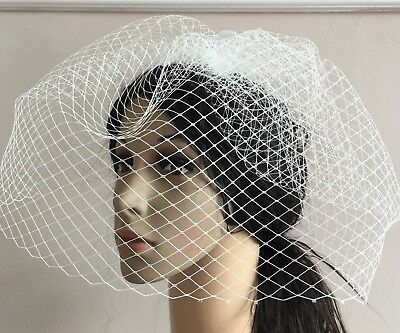 white french veil veiling fascinator wedding bridal hair hat comb clip race