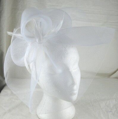 white feather headband fascinator millinery wedding ascot hat hair piece