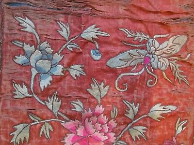 Antique tattered Chinese silk Embroidery Bats Flowers butterfly 154cmx50cm