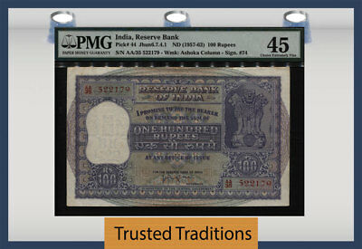 Tt Pk 44 Nd(1957-62) India Reserve Bank 100 Rupees Pmg 45 Choice Extremely Fine!