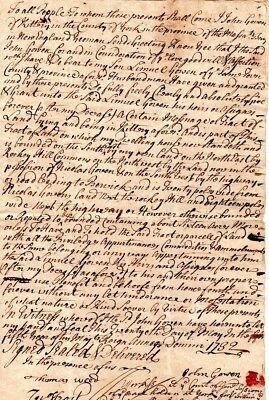 1732, Kittery, Maine, John Gowen land to son, Colonel John Frost signed