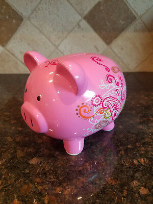 Pink Paisley decorated Piggy Bank for Target Ceramic