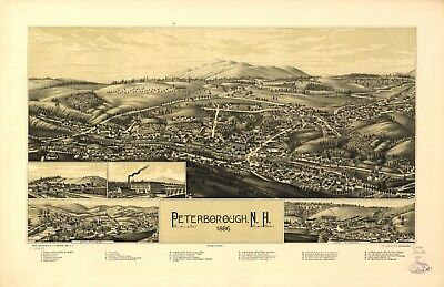 A4 Reprint of American Cities Towns States Map Peterborough Nh