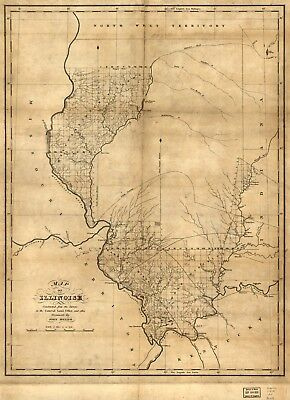 A4 Reprint of American Cities Towns States Map Illinois
