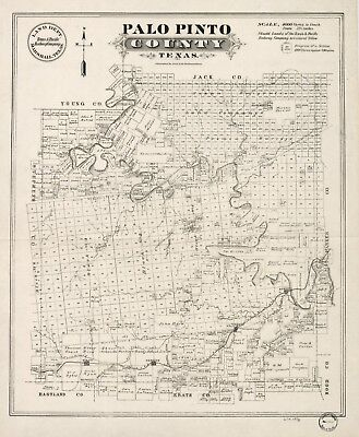 A4 Reprint of American Cities Towns States Map Palo Pinto County Texas