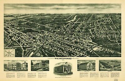 A4 Reprint of American Cities Towns States Map Westwood New Jersey