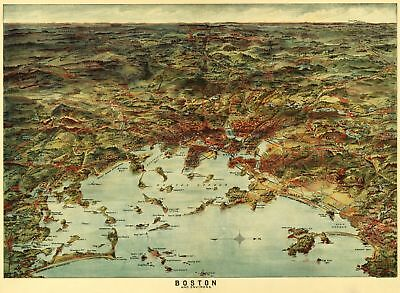 A4 Reprint of Map Very Highly Detailed Boston City & Environs Late 1800S