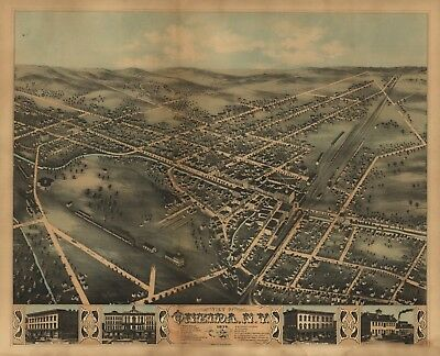 A4 Reprint of American Cities Towns States Map Ondeida New York