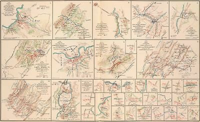 A4 Reprint of Old Maps 1864 of 37 Sketches Cavalry Skirmishes & Action