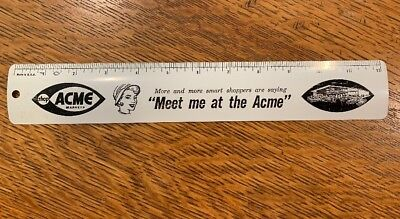"Vintage Nice Acme Markets Grocery Store 12"" Metal Ruler"