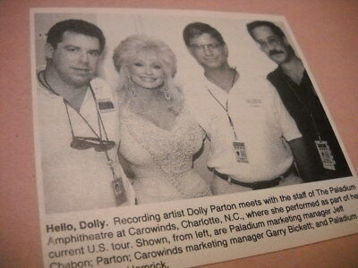DOLLY PARTON w/ staff The Paladium in Charlotte, NC 1992 music biz image w/ text