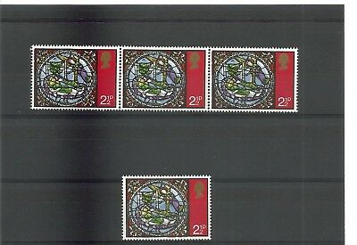 1971 2 1/2p Xmas strip of 3 with Black colour shift MNH with normal