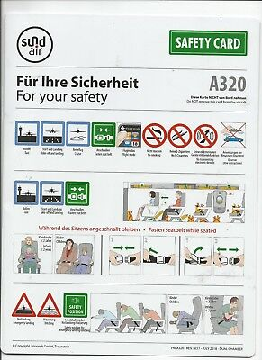 Safety card  A320 sund air im Kreis