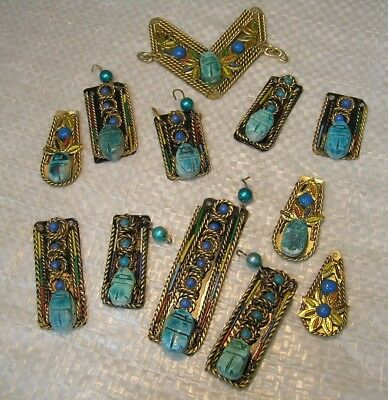 12  Vintage BRASS  METAL  Art DECO   Egyptian REVIVAL  Necklace Pieces