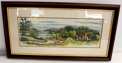 Original Riverside Cabins Scenic Countryside Landscape Embroidery Framed - C41