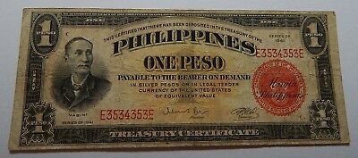 1941 Series US Philippines 1 Peso Banknote - RADAR Note E3534353E