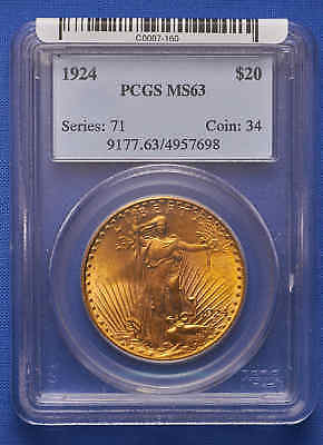 1924 $20 St. Gaudens Double Eagle Gold Coin PCGS MS 63 Old Blue Tag.