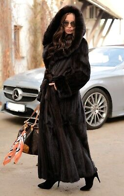 New Saga Mink Long Trench Fur Coat Hood Class- Jacket Chinchilla Fox Sable Vest