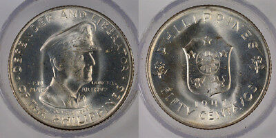 """1947 """"defender And Liberator Of The Philippines"""" 50 Centavos Silver Coin !!!"""