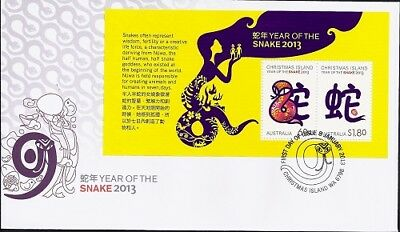 2013 Christmas Island - Year of the Snake Mini Sheet First Day Cover FDI