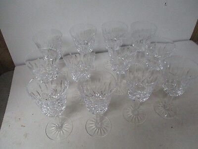 """12 Stunning 6"""" Tall Waterford Crystal Claret Wine Stem Glasses - LISMORE"""