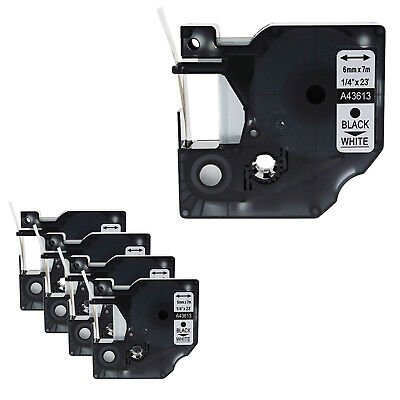 5PK Black on White Label Tape 6mm*7m For Dymo D1 43613 LabelManager 200 350 400