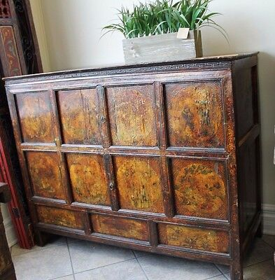 Decorative Sideboard Cabinet W/ Detailed Chinese/tibetan Painting.