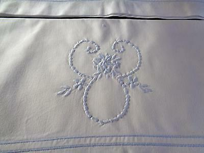 A Super Pair Of Vintage Smooth Cotton Pillowcases, Beautiful Blue Embroidery