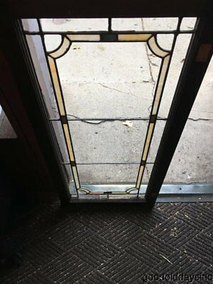 "1 of 2 Antique Stained Leaded Glass Transom Window / Cabinet Door 45"" by 21"""