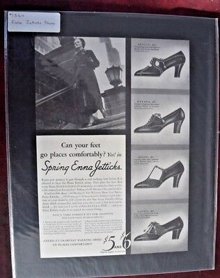 Advertising, Magazine, Enna Jetticks, Shoes, Womens, 1938, Vintage, Mounted