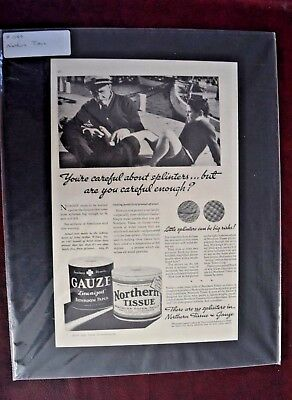 Advertising, Magazine, Northern Tissue, Gauze, 1935, Vintage, Mounted