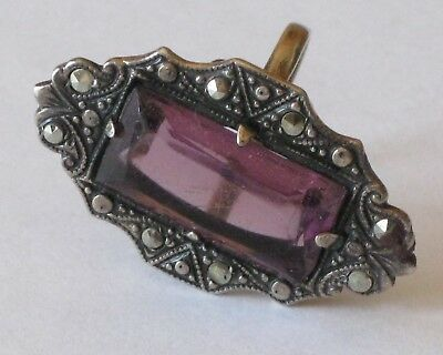 Antique/Vintage Silver Marcasite Ring with Rectangle Amethyst Center-Size 4