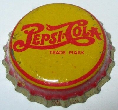 PEPSI-COLA SODA BOTTLE CAP; 1930's YELLOW LARGE TRADEMARK; USED; CORK-LINED