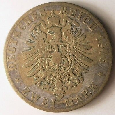 1876 GERMAN EMPIRE (PRUSSIA) 2 MARK - Rare Type Silver Coin - Lot N13