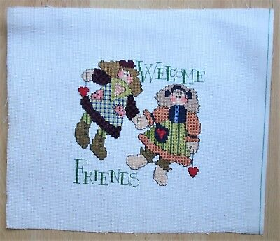 Welcome Friends Completed Counted Cross Stitch Handmade