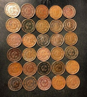 Old Mexico Coin Lot - 1902-1948 - 30 One Centavo Coins - Lot #N13