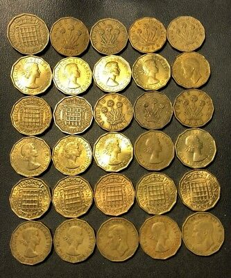 Vintage Great Britain Coin Lot! 1937-1967 - 3 PENCE - 30 Excellent Coins - #N13