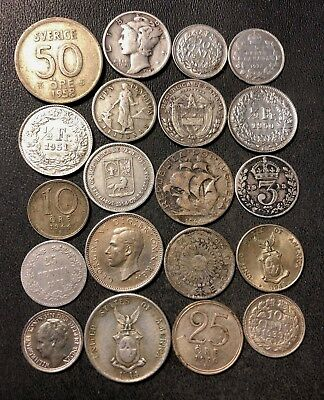 Vintage WORLD Silver Coin Lot - 1901-1961 - 20 Silver Coins - Lot #N13