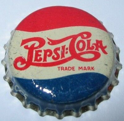 PEPSI-COLA SODA BOTTLE CAP; 1940's DOUBLE DOT; LARGE TRADEMARK; USED; CORK-LINED