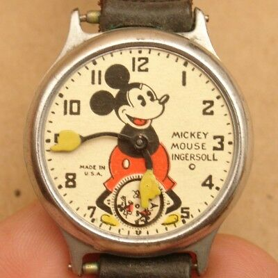 Vintage 1930's Pie-Eyed Mickey Mouse Ingersoll Wrist Watch,Antique,For Parts