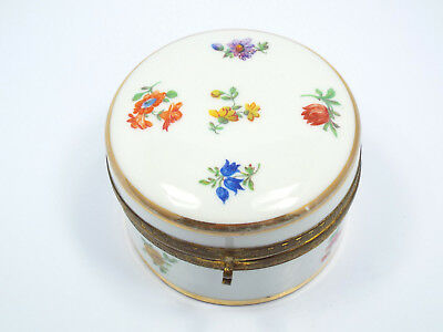 Vintage Germany Porcelain Painted Floral Vanity Powder Dresser Box, with Mirror