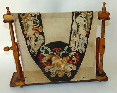RARE ANTIQUE NEEDLEPOINT In TREENWARE WOODEN FRAME Dogs