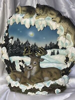 3D Deer and Wolf Figurine Country Statue Plate